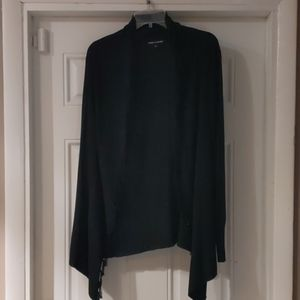 Cable & Gage Fringed Black Cardigan Sweater Size L